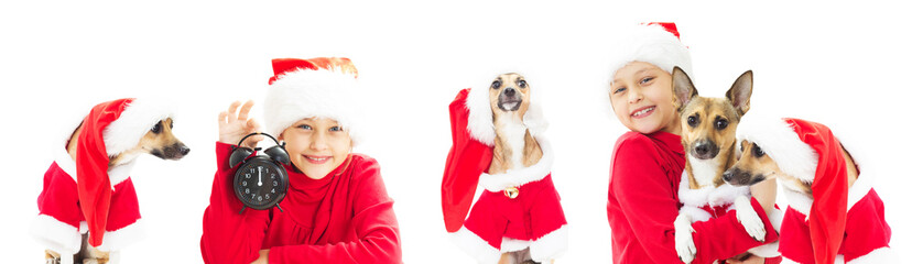 child and dog in Santa Claus hat