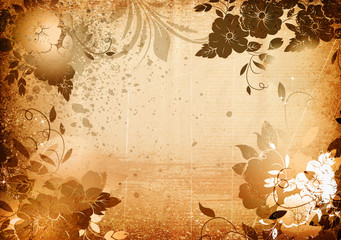 Old grunge floral background.