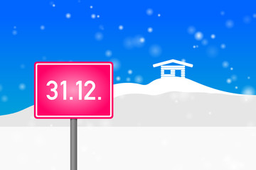 """ortsschild pink """"31.12."""""""
