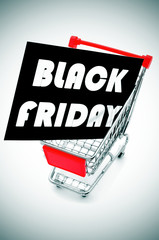 signboard with the text black friday in a shopping cart