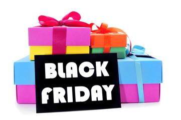 gifts and a signboard with the text black friday