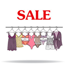 Cute hand drawn illustration with sale of lingerie
