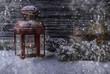 canvas print picture - Winter mit Laterne und Schnee Kerze