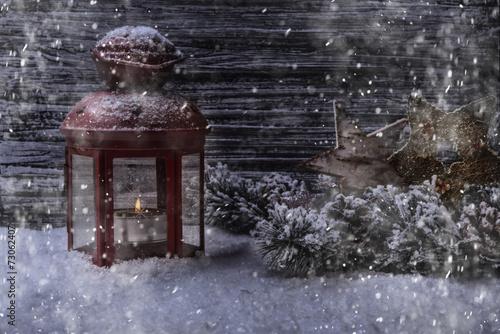 canvas print picture Winter mit Laterne und Schnee Kerze