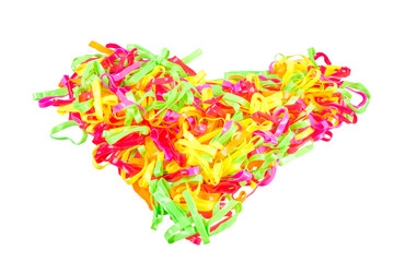 heart Colorful rubber bands on white background