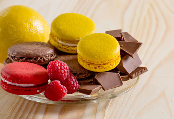 Macaroon with  chocolate, raspberry and lemon