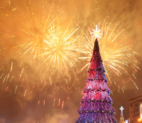 Christmas tree and fireworks