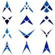 Arrow concept abstract blue icon set