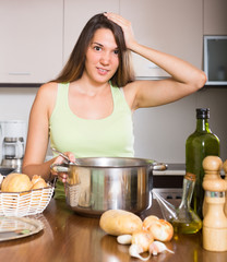 Girl thinking what to cook