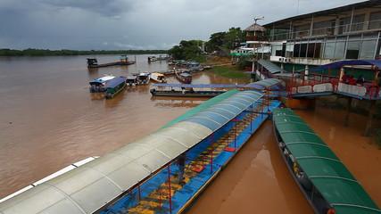 Passenger boats docked on the Amazon