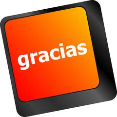 Computer keyboard keys with word Gracias, Spanish thank you