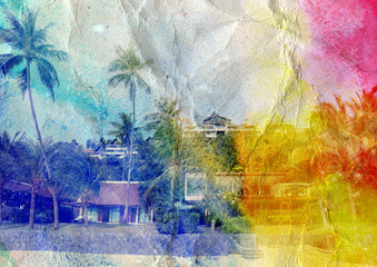 watercolor landscape with palm trees and buildings