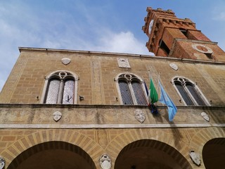 The historic town hall of Pienza in Tuscany in Italy