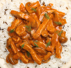 Pork Stroganoff with Rice