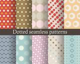 Fototapety Dotted seamless patterns set