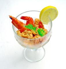 coupe de cocktail de crevettes