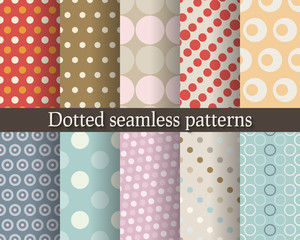 Dotted seamless patterns set