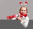 Happy little Christmas child girl .