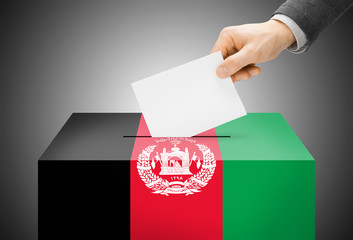Ballot box painted into national flag colors - Afghanistan