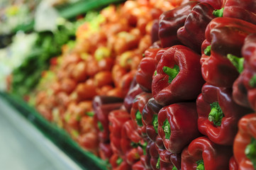 Red peppers in the supermarket