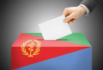 Ballot box painted into national flag colors - Eritrea