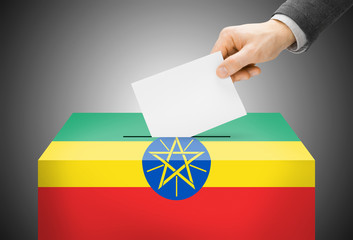 Ballot box painted into national flag colors - Ethiopia