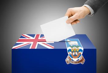 Ballot box painted into national flag colors - Falkland Islands