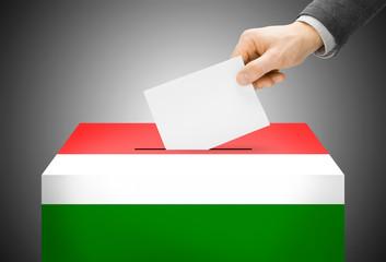 Ballot box painted into national flag colors - Hungary