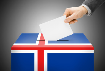 Ballot box painted into national flag colors - Iceland
