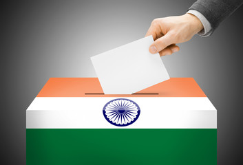 Ballot box painted into national flag colors - India