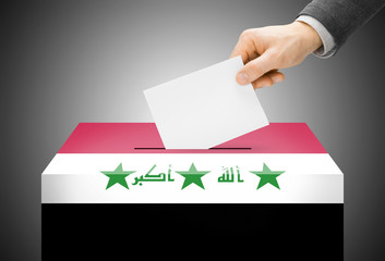 Ballot box painted into national flag colors - Iraq