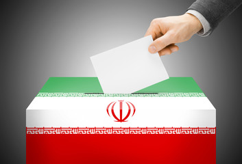 Ballot box painted into national flag colors - Iran