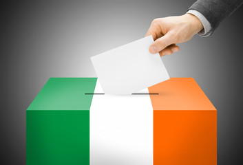 Ballot box painted into national flag colors - Ireland