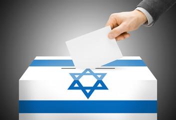 Ballot box painted into national flag colors - Israel