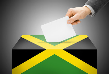 Ballot box painted into national flag colors - Jamaica