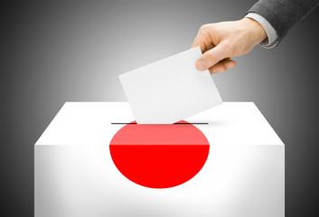 Ballot box painted into national flag colors - Japan