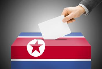 Ballot box painted into national flag colors - North Korea