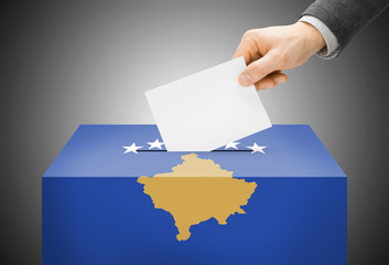 Ballot box painted into national flag colors - Kosovo