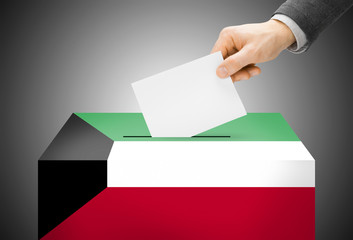 Ballot box painted into national flag colors - Kuwait