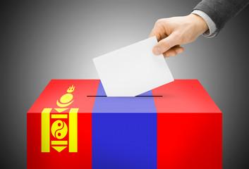 Ballot box painted into national flag colors - Mongolia