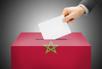 Ballot box painted into national flag colors - Morocco