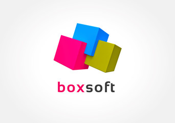 Abstract colored boxes logo icon concept. Logotype template for