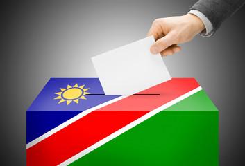 Ballot box painted into national flag colors - Namibia