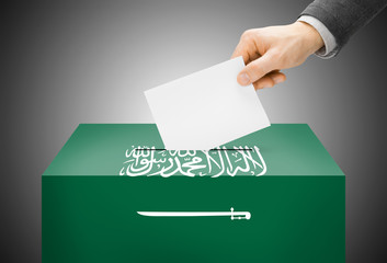Ballot box painted into national flag colors - Saudi Arabia