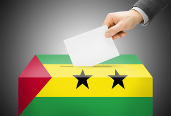 Ballot box in colors of national flag - Sao Tome and Principe