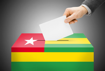 Ballot box painted into national flag colors - Togo