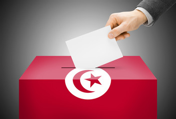 Ballot box painted into national flag colors - Tunisia
