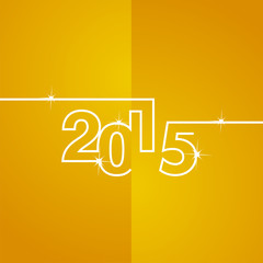 White line 2015 orange background vector