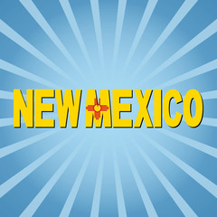 New Mexico flag text with sunburst  illustration