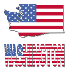 Washington map flag and text illustration